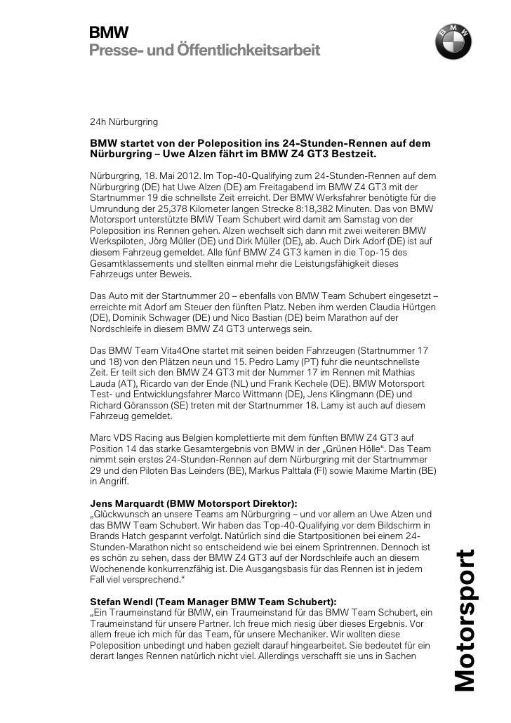 BMWPresse- und Öffentlichkeitsarbeit24h NürburgringBMW startet von der Poleposition ins 24-Stunden-Rennen auf demNürburgri...