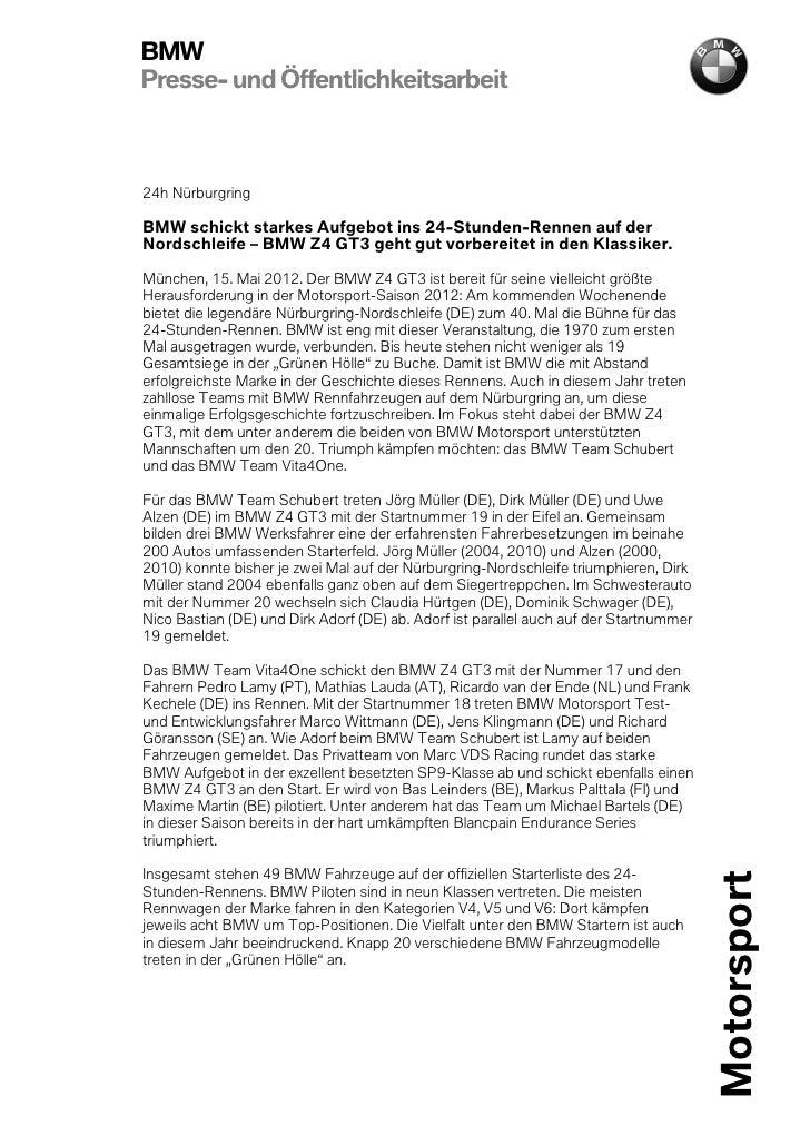 BMWPresse- und Öffentlichkeitsarbeit24h NürburgringBMW schickt starkes Aufgebot ins 24-Stunden-Rennen auf derNordschleife ...