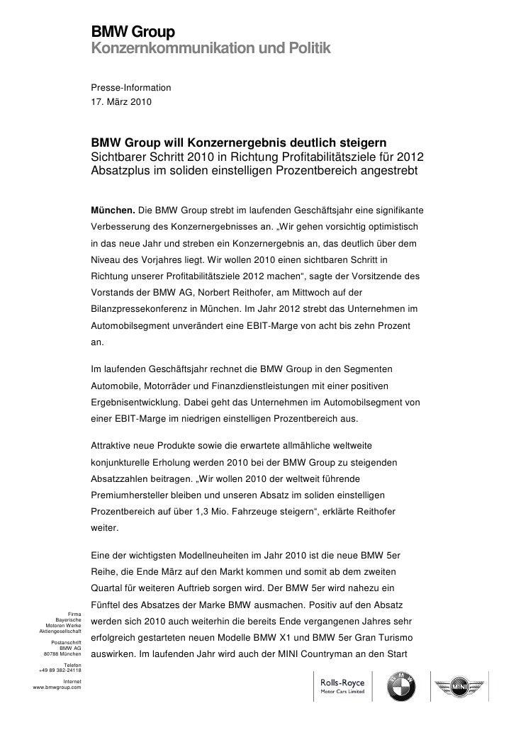 BMW Group                       Konzernkommunikation und Politik                       Presse-Information                 ...