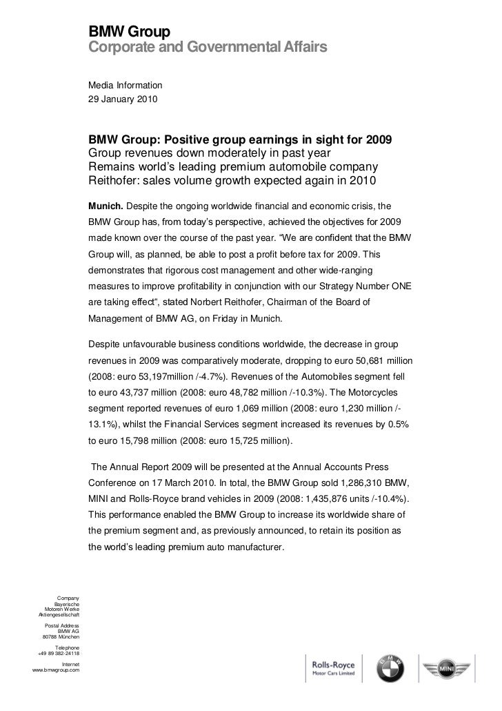 BMW Group                       Corporate and Governmental Affairs                       Media Information                ...
