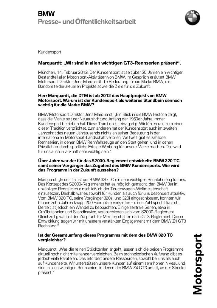 """BMWPresse- und ÖffentlichkeitsarbeitKundensportMarquardt: """"Wir sind in allen wichtigen GT3-Rennserien präsent"""".München, 14..."""