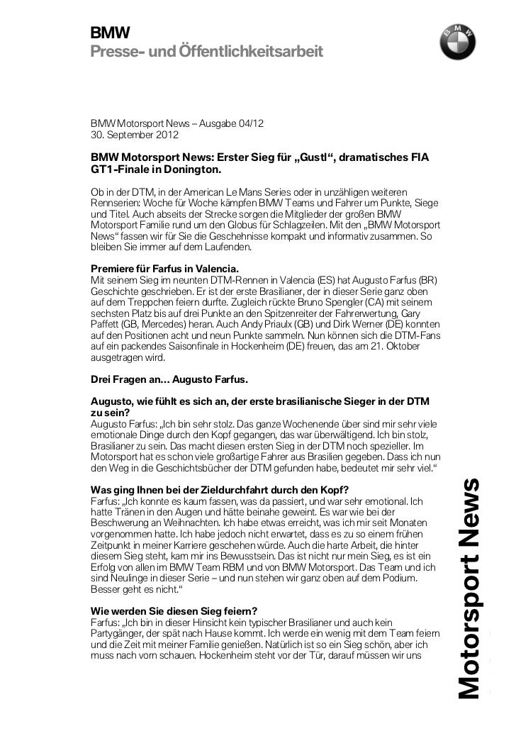 BMWPresse- und ÖffentlichkeitsarbeitBMW Motorsport News – Ausgabe 04/1230. September 2012BMW Motorsport News: Erster Sieg ...