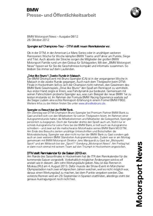 BMWPresse- und ÖffentlichkeitsarbeitBMW Motorsport News – Ausgabe 08/1228. Oktober 2012             Champions-Spengler auf...