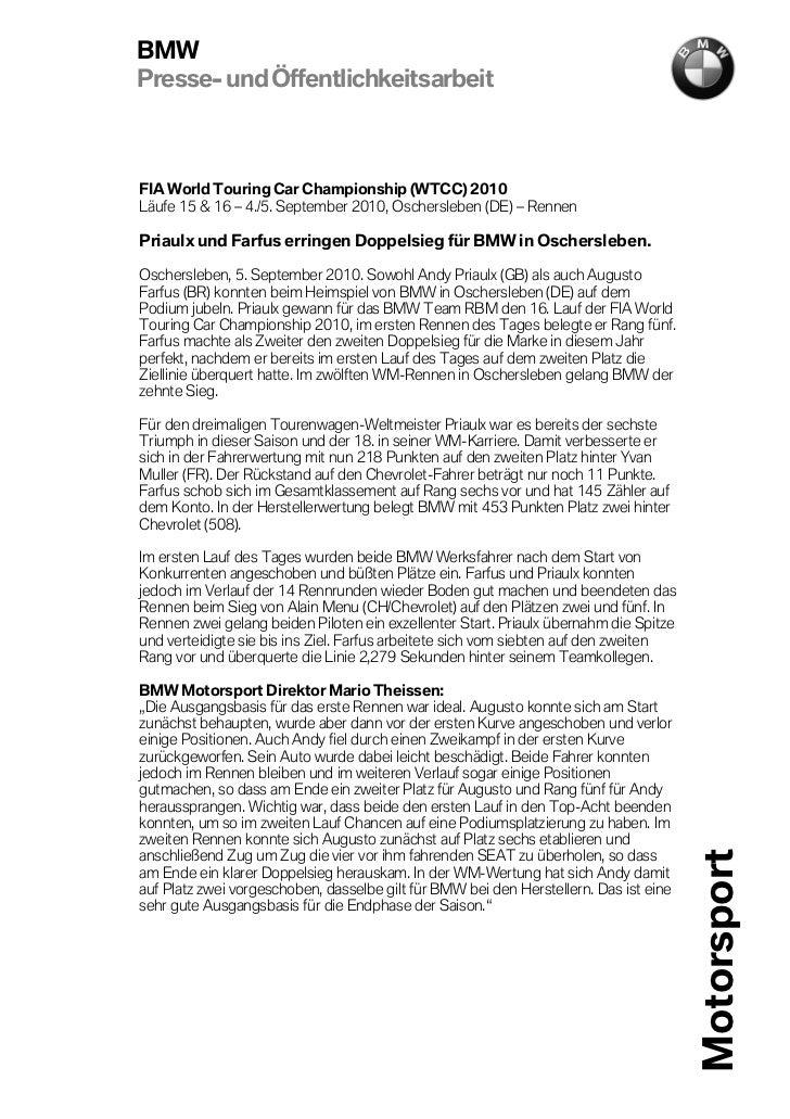BMWPresse- und ÖffentlichkeitsarbeitFIA World Touring Car Championship (WTCC) 2010Läufe 15 & 16 – 4./5. September 2010, Os...