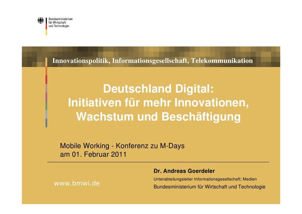 Deutschland Digital: Initiativen für mehr Innovationen, Wachstum und Beschäftigung