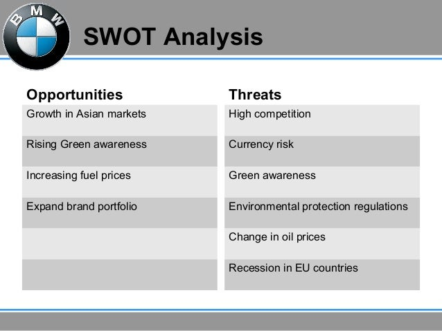 bmw swot analysis One of the classiest luxury cars in the terms of quality and design, the swot analysis of bmw discusses the swot matrix for brand bmw bmw have diversified product portfolio from suv's to luxury sedans to sports cars.