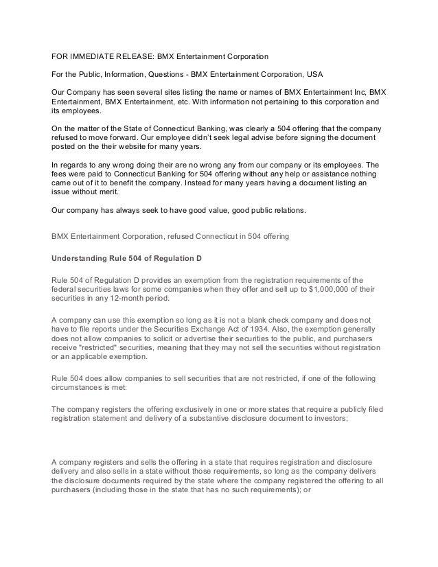 Bmx Entertainment Corporation - Consent Order