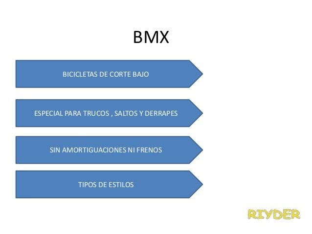 BMXBICICLETAS DE CORTE BAJOESPECIAL PARA TRUCOS , SALTOS Y DERRAPESSIN AMORTIGUACIONES NI FRENOSTIPOS DE ESTILOS