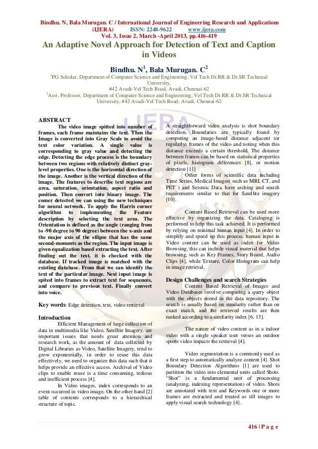 Bindhu. N, Bala Murugan. C / International Journal of Engineering Research and Applications                   (IJERA)     ...