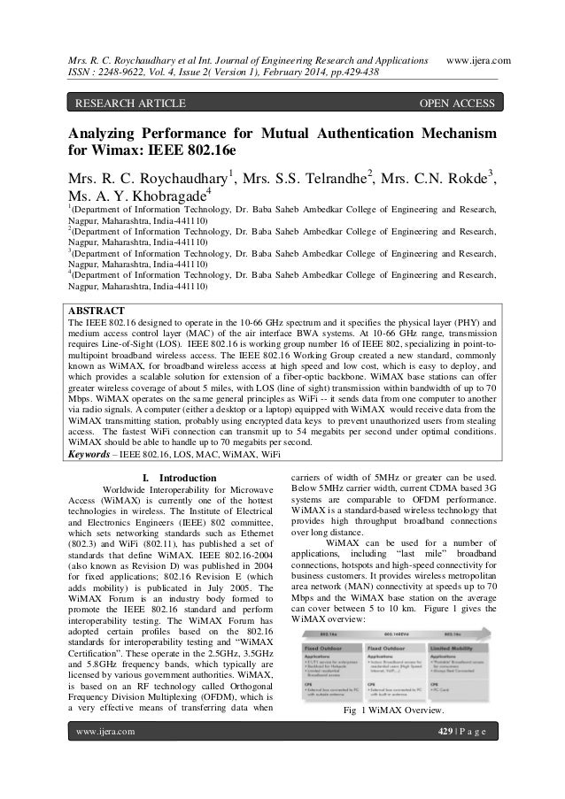 Mrs. R. C. Roychaudhary et al Int. Journal of Engineering Research and Applications ISSN : 2248-9622, Vol. 4, Issue 2( Ver...