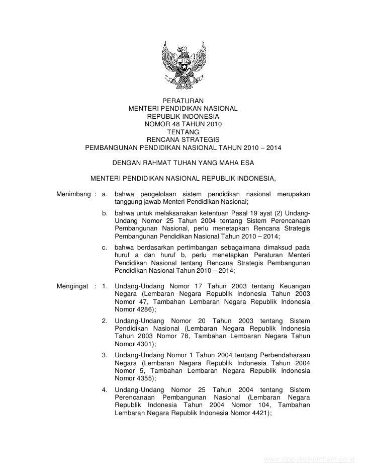 PERATURAN                MENTERI PENDIDIKAN NASIONAL                     REPUBLIK INDONESIA                    NOMOR 48 TA...