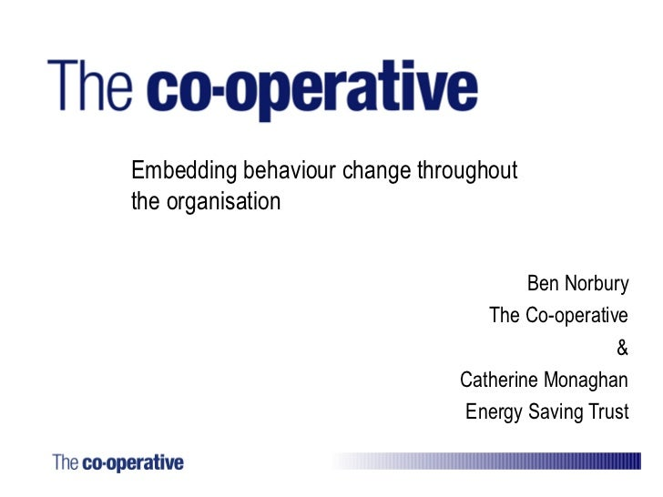Co-op - Transforming Business: Employee Engagement and Behaviour Change Workshop