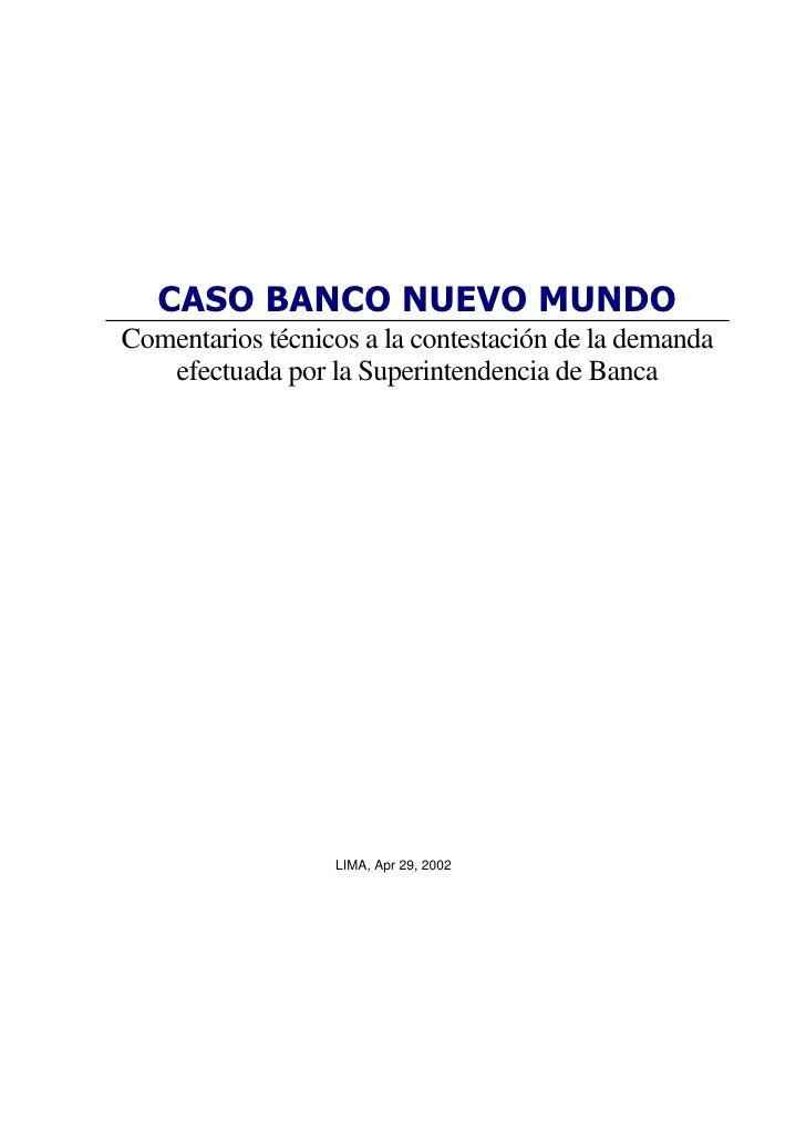Banco Nuevo Mundo - Bases Técnicas para contestacion a la demanda presentada por SBS
