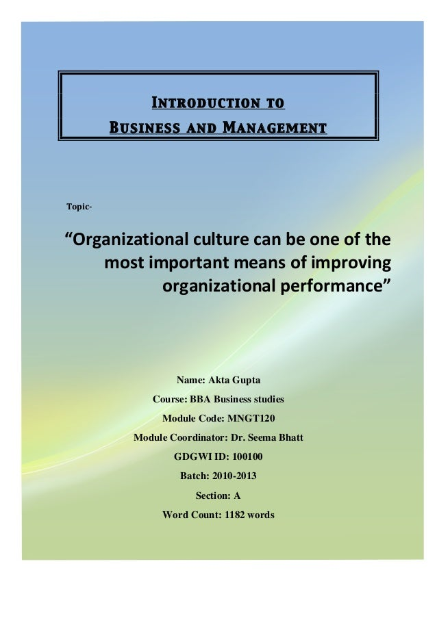 Organizational culture	 can	 be one of the most important means of improving organizational performance