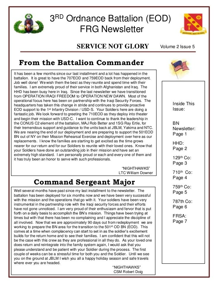 Volume 2 Issue 5<br />From the Battalion Commander<br />It has been a few months since our last installment and a lot has ...