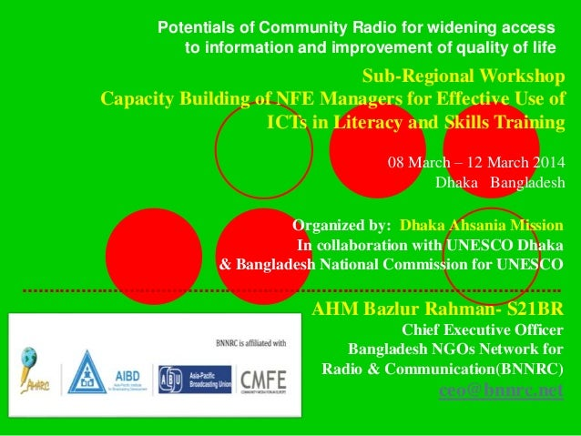 Potentials of Community Radio for widening access to information and improvement of quality of life