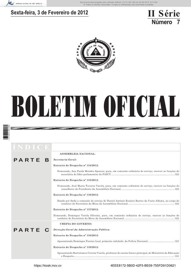 Documento descarregado pelo utilizador Felismino Thomás (10.73.102.134) em 23-02-2012 10:54:15.                           ...