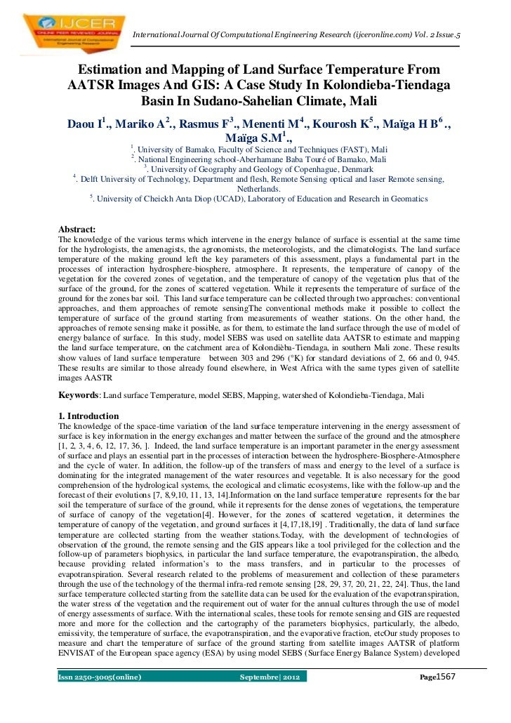 International Journal Of Computational Engineering Research (ijceronline.com) Vol. 2 Issue.5   Estimation and Mapping of L...