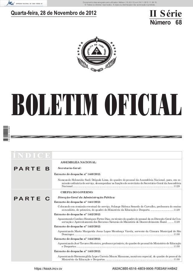 BOLETIM OFICIALQuarta-feira, 28 de Novembro de 2012 II SérieNúmero 68Í N D I C EP A R T E BASSEMBLEIA NACIONAL:Secretaria-...