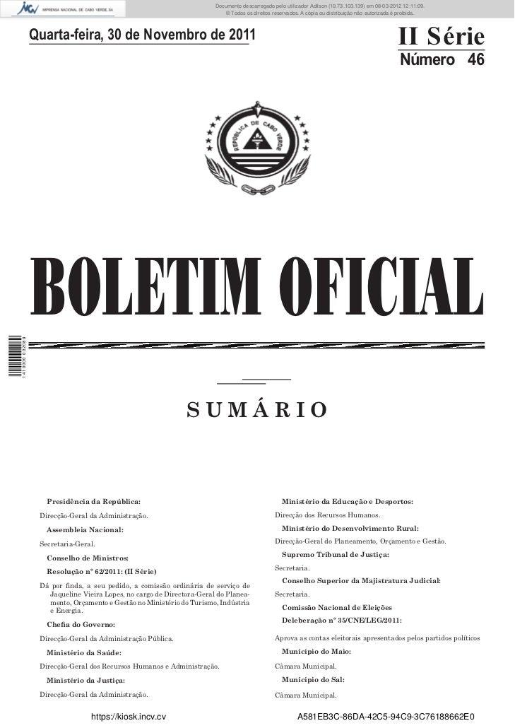 Boletim Oficial Nº 46, de 30 de Novembro de 2011