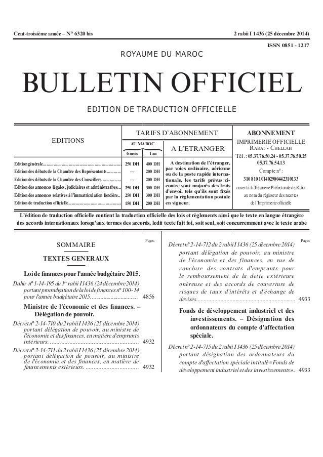 Pages Pages { ROYAUMEDUMAROC BULLETIN OFFICIEL EDITIONDETRADUCTIONOFFICIELLE EDITIONS TARIFS D'ABONNEMENT ABONNEMENT ...