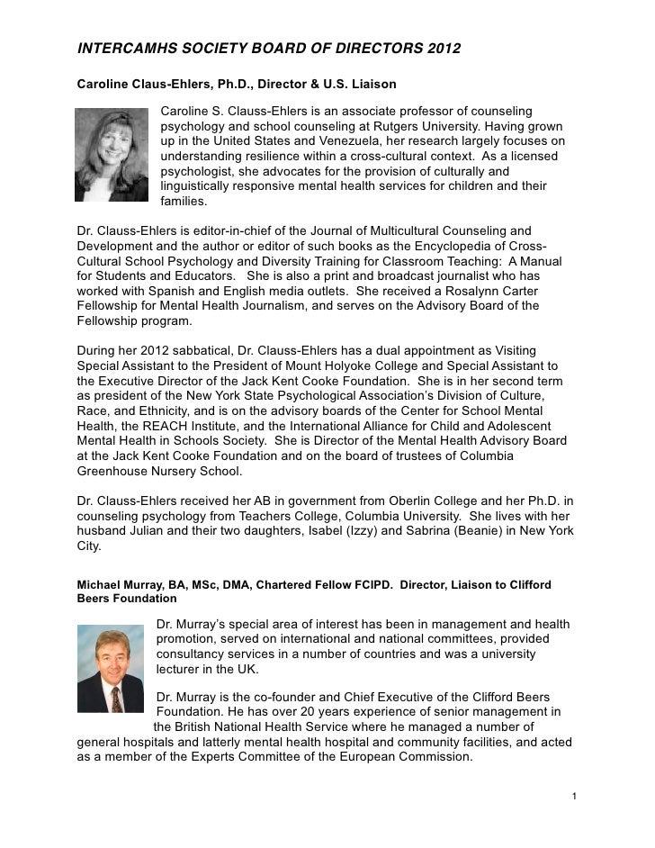 INTERCAMHS SOCIETY BOARD OF DIRECTORS 2012Caroline Claus-Ehlers, Ph.D., Director & U.S. Liaison               Caroline S. ...