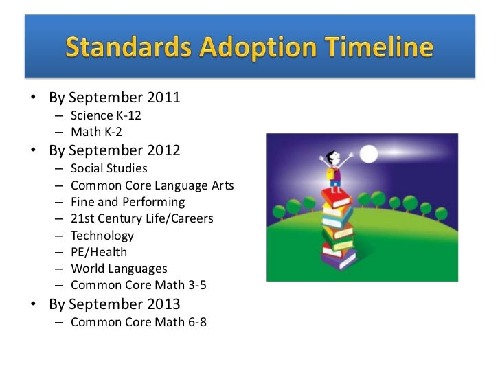 • By September 2011   – Science K-12   – Math K-2• By September 2012   –   Social Studies   –   Common Core Language Arts ...