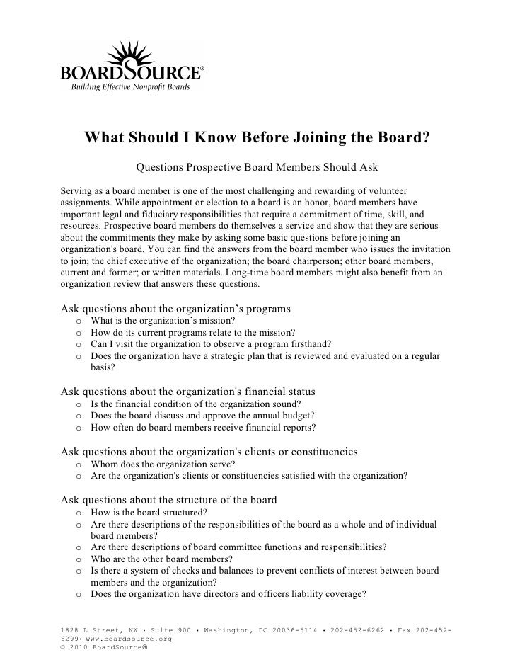 What Should I Know Before Joining the Board?                   Questions Prospective Board Members Should Ask  Serving as ...