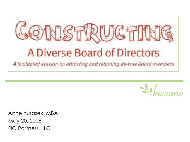 Constructing a Diverse Board of Directors