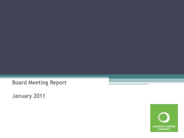 Board Meeting Report January 2011