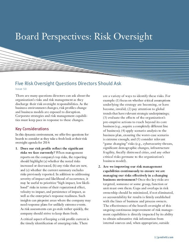 Board Perspectives: Risk Oversight  Five Risk Oversight Questions Directors Should Ask Issue 50  There are many questions ...