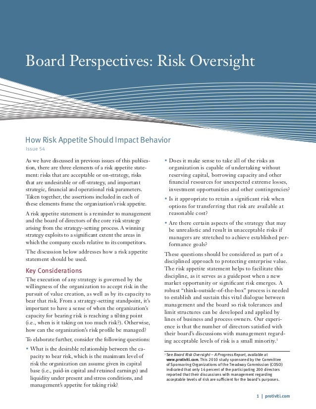 1 | protiviti.com Board Perspectives: Risk Oversight Issue 54 As we have discussed in previous issues of this publica- tio...