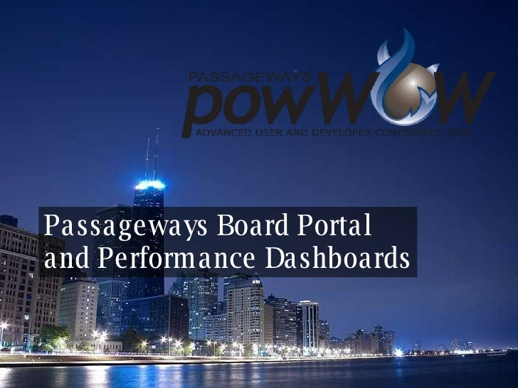 Passageways Board Portal  and Performance Dashboards