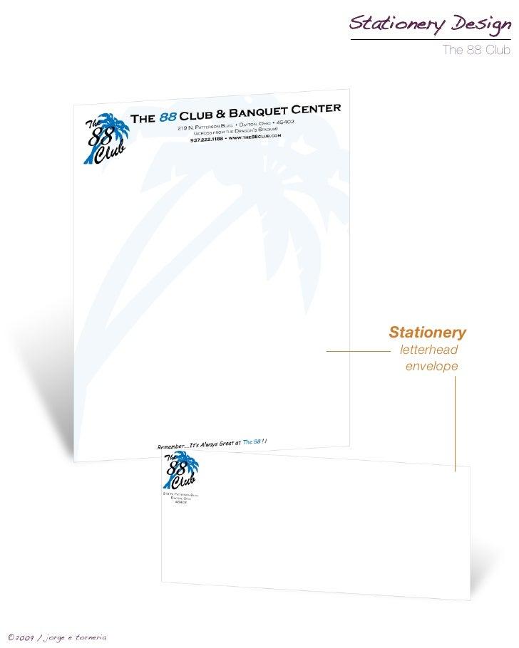 Stationery Design                                        The 88 Club                                    Stationery        ...