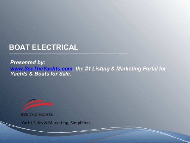 Yacht Sales & Marketing. Simplified BOAT ELECTRICAL Presented by: www.SeeTheYachts.com, the #1 Listing & Marketing Portal ...