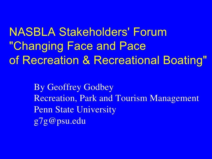 """NASBLA Stakeholders Forum""""Changing Face and Paceof Recreation & Recreational Boating""""    By Geoffrey Godbey    Recreation,..."""