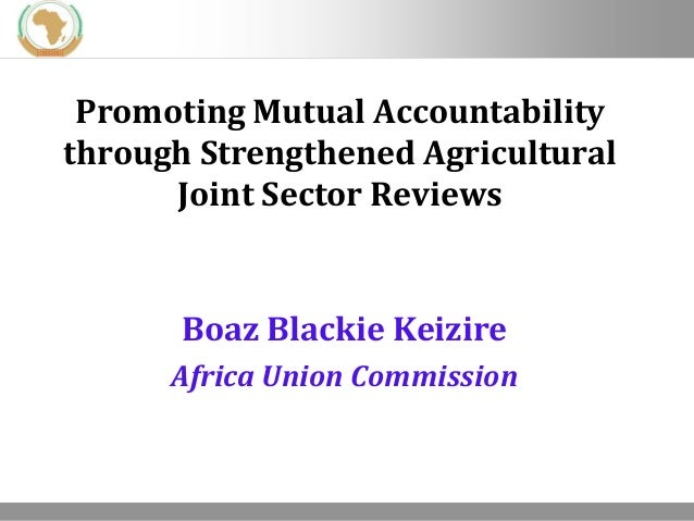 Promoting Mutual Accountability through Strengthened Agricultural Joint Sector Reviews  Boaz Blackie Keizire Africa Union ...