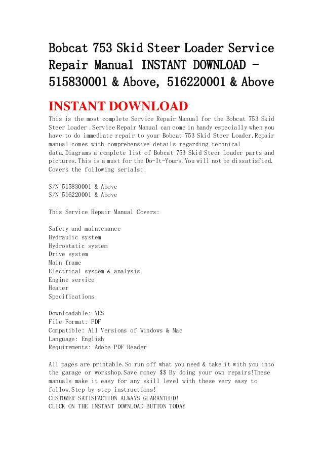Bobcat 753 Skid Steer Loader Service Repair Manual Instant