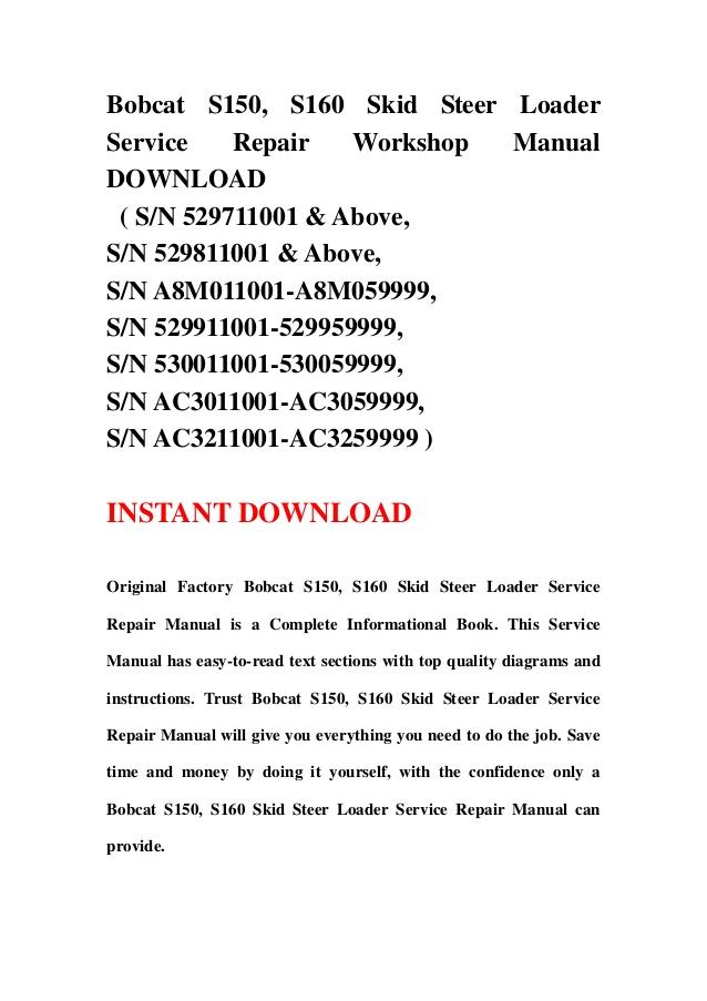 s service bobcat manual 150