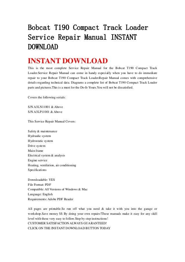 Bobcat t190 compact track loader service repair manual instant download3