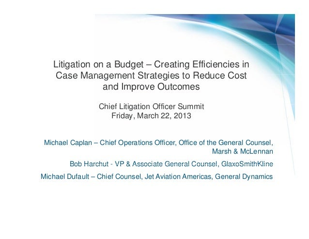 Litigation on a Budget – Creating Efficiencies in    Case Management Strategies to Reduce Cost                and Improve ...