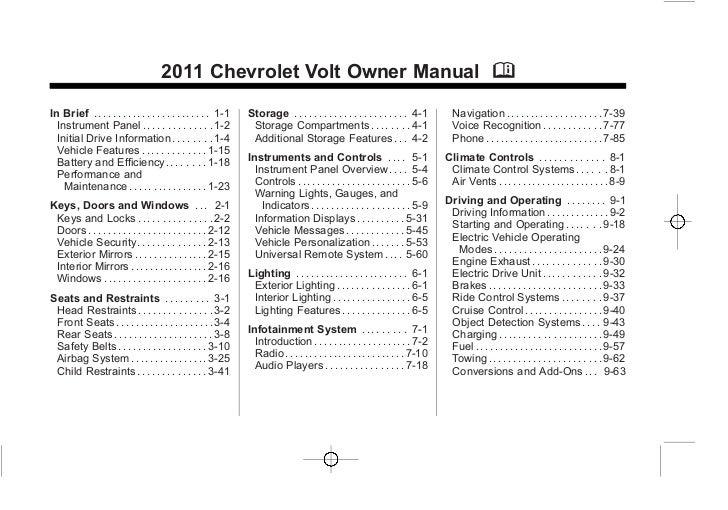 2011 Chevrolet Volt Owner Manual MIn Brief . . . . . . . . . . . . . . . . . . . . . . . . 1-1   Storage . . . . . . . . ....