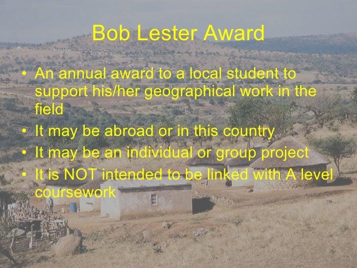 Bob Lester Award