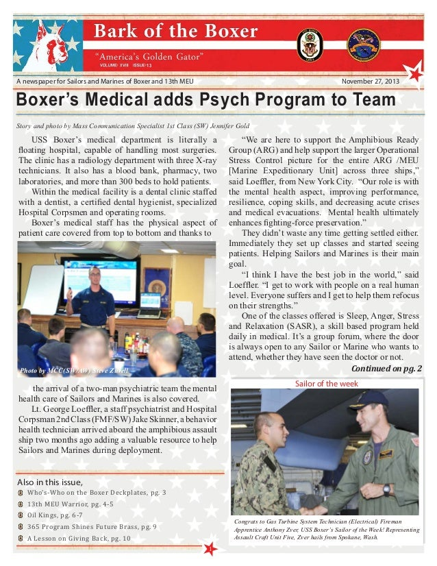 13  A newspaper for Sailors and Marines of Boxer and 13th MEU  November 27, 2013  Boxer's Medical adds Psych Program to Te...