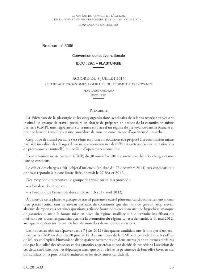 CC 2013/33 33 Brochure n° 3066 Convention collective nationale IDCC : 292. – PLASTURGIE ACCORD DU 8 JUILLET 2013 RELATIF A...