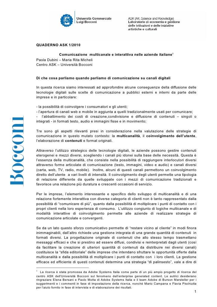 QUADERNO ASK 1/2010               Comunicazione multicanale e interattiva nelle aziende italiane1 Paola Dubini – Maria Rit...
