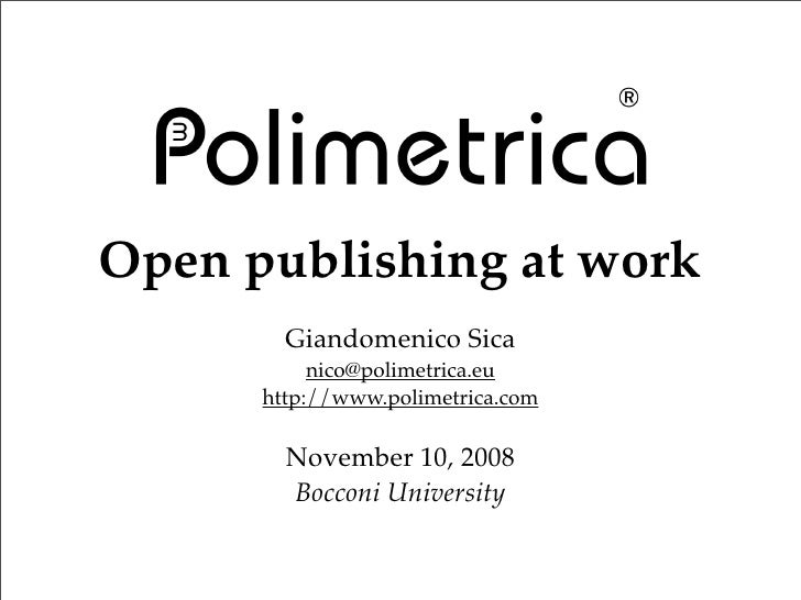 Open publishing at work