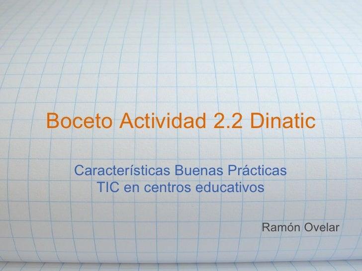 Boceto Actividad 2.2 Dinatic    Características Buenas Prácticas      TIC en centros educativos                           ...