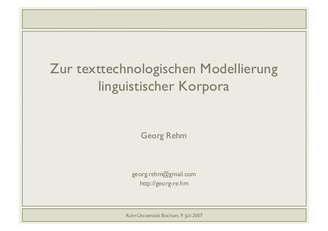 Zur texttechnologischen Modellierung