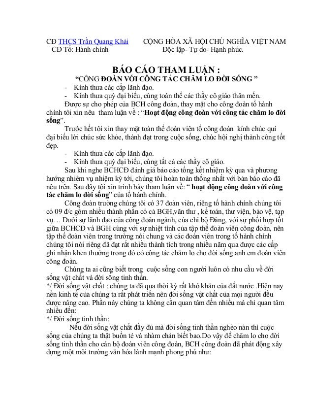 CĐ THCS Trần Quang Khải CỘNG HÒA XÃ HỘI CHỦ NGHĨA VIỆT NAM CĐ Tổ: Hành chính Độc lập- Tự do- Hạnh phúc. BÁO CÁO THAM LUẬN ...